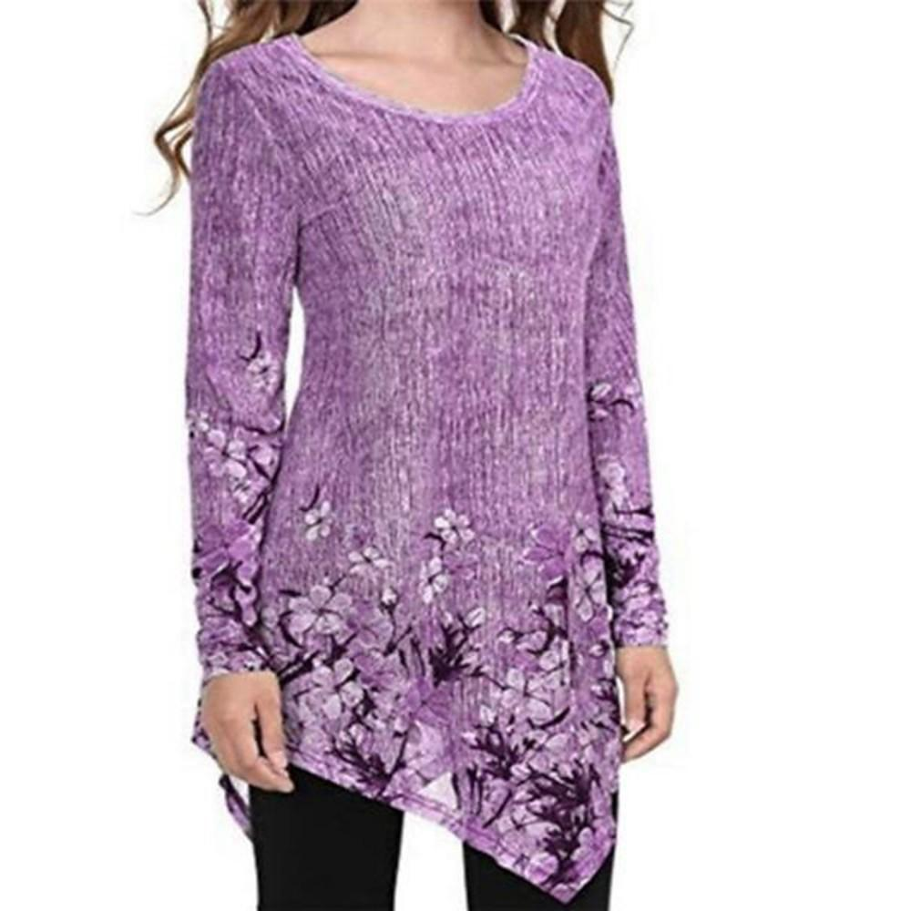 Women's T-shirt - Geometric Print Purple-Women-Weekly Top Deal