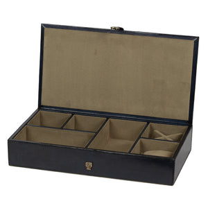 Navy Leather Jewellery Box LRG