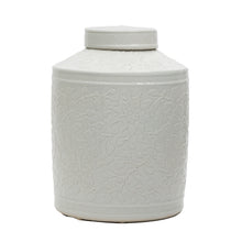 Load image into Gallery viewer, White Embossed Ceramic Jar