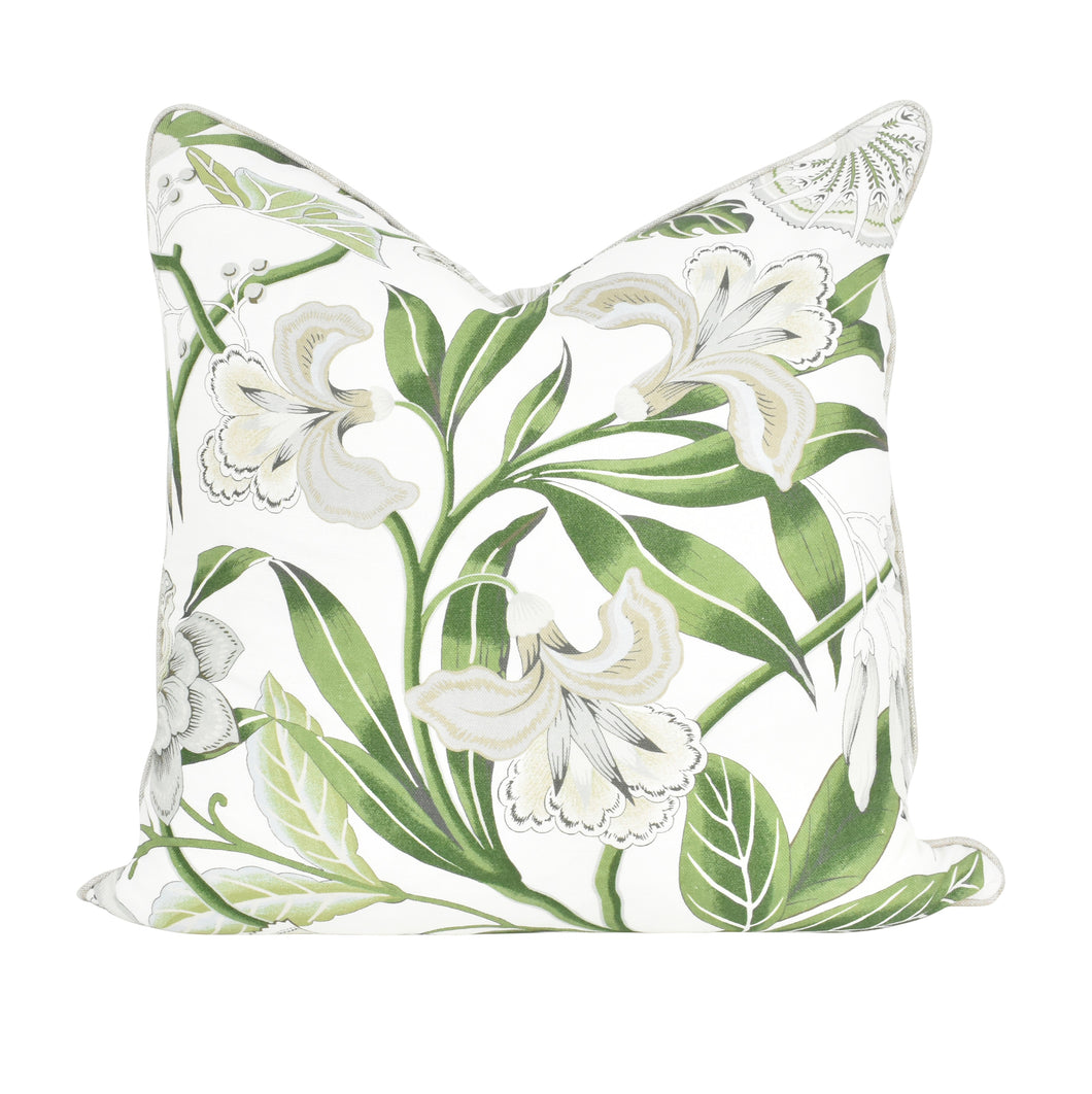 Green & Grey Floral Cushion
