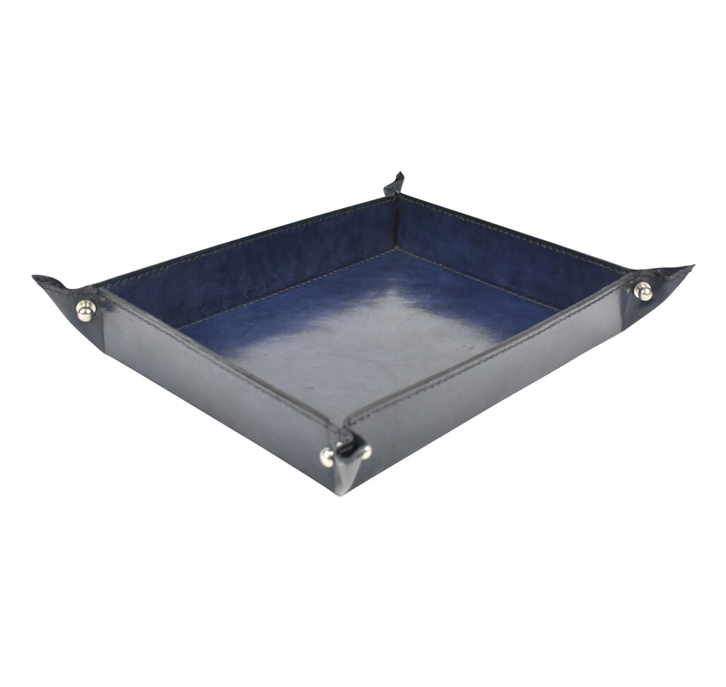 Navy Leather Pinched Corner Tray MED