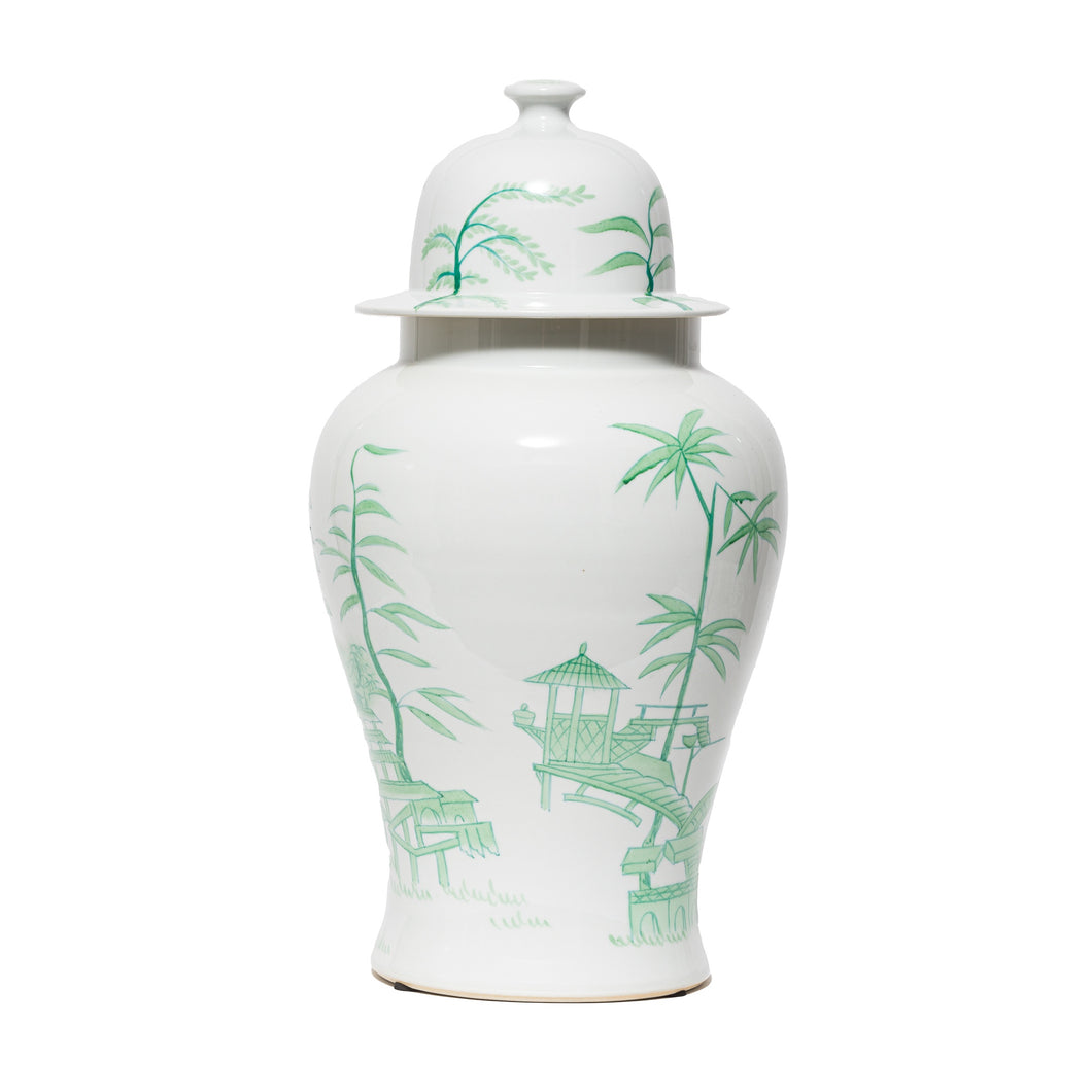White & Green Temple Jar