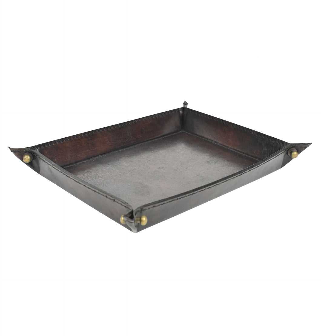 Dark Leather Pinched Corner Tray SML