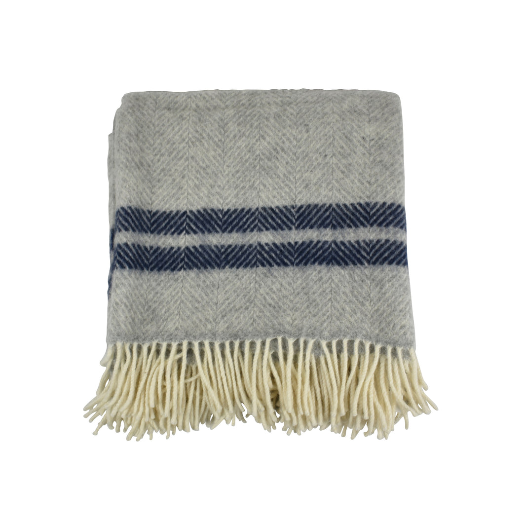 Wool Throw Navy & Silver