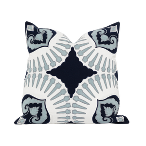 Outdoor Blue Applique Cushion