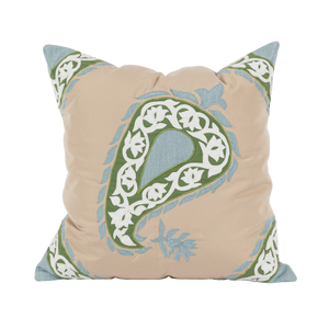 Outdoor Green Paisley Cushion