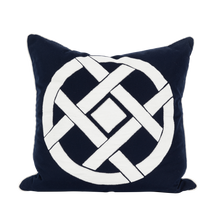 Load image into Gallery viewer, Outdoor Navy Circle Motif Cushion