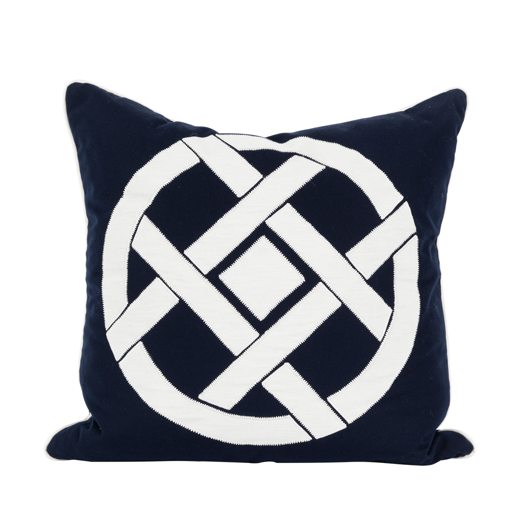 Outdoor Navy Circle Motif Cushion