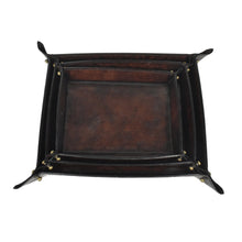 Load image into Gallery viewer, Dark Leather Pinched Corner Tray SML