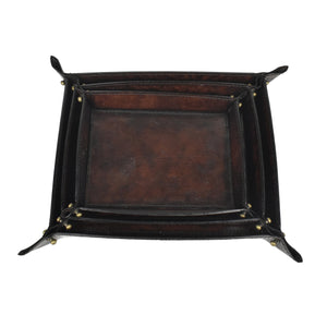 Dark Leather Pinched Corner Tray LRG