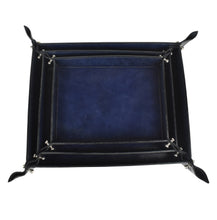Load image into Gallery viewer, Navy Leather Pinched Corner Tray MED