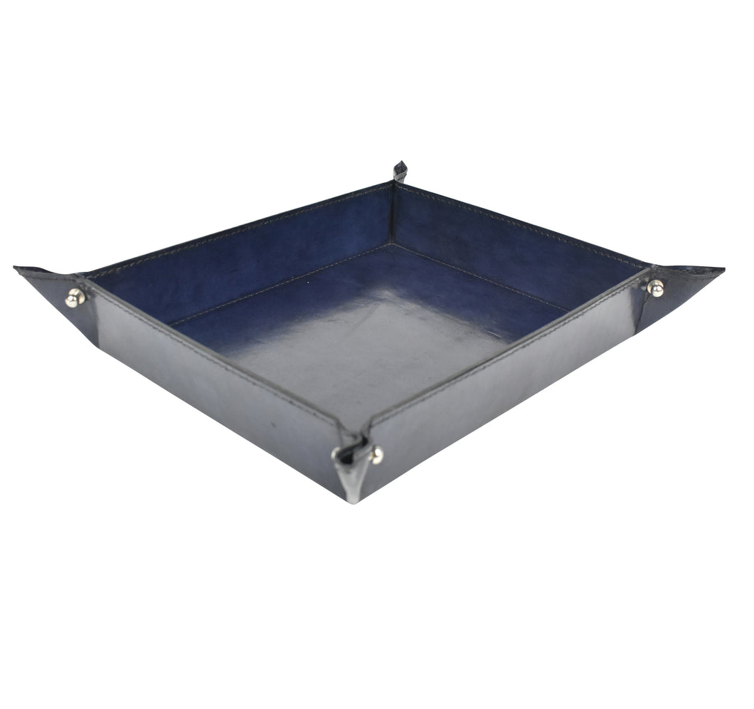 Navy Leather Pinched Corner Tray LRG