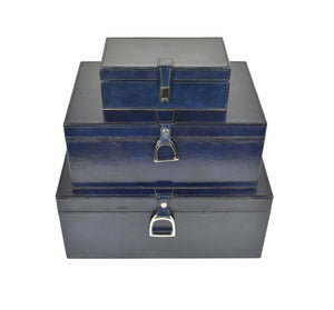 Navy Leather Stirrup Box LRG