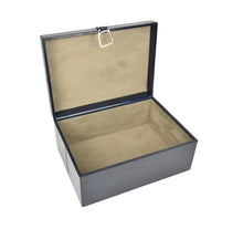 Load image into Gallery viewer, Navy Leather Stirrup Box MED