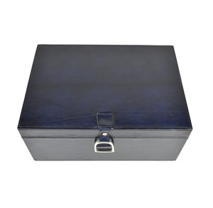 Navy Leather Stirrup Box MED