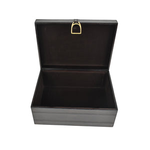 Dark Brown Leather Stirrup Box LRG