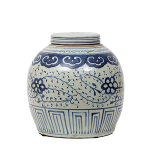Blue & White Floral Ginger Jar