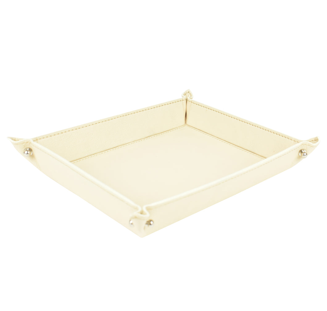 Cream Leather Pinched Corner Tray LRG