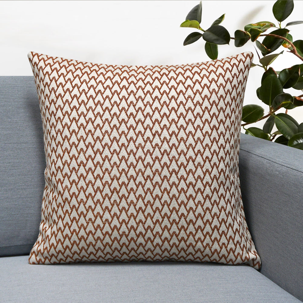 "Carmel Jacquard Throw Pillow | Rust | 18"" x 18"""
