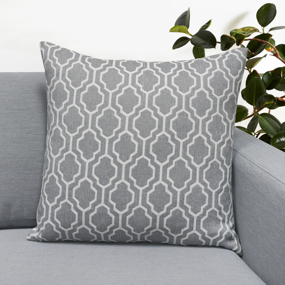 "Set of 2 Herald Geo Throw Pillow | Silver | 20"" x 20"""