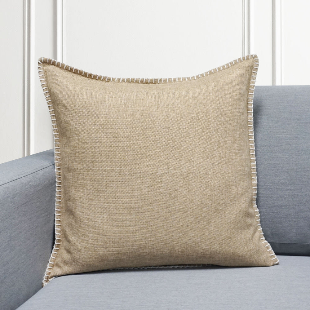 "Set of 2 Linen Whip Stitch Throw Pillow | Beige | 20"" x 20"""
