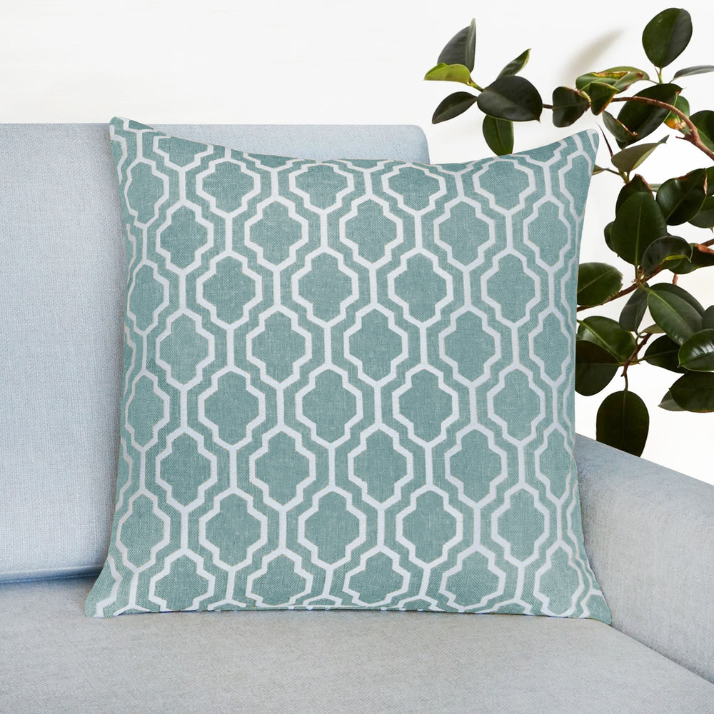 "Set of 2 Herald Geo Throw Pillow | Aqua | 20"" x 20"""