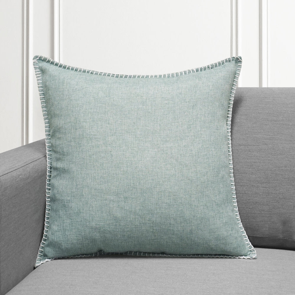 "Set of 2 Linen Whip Stitch Throw Pillow | Teal | 20"" x 20"""