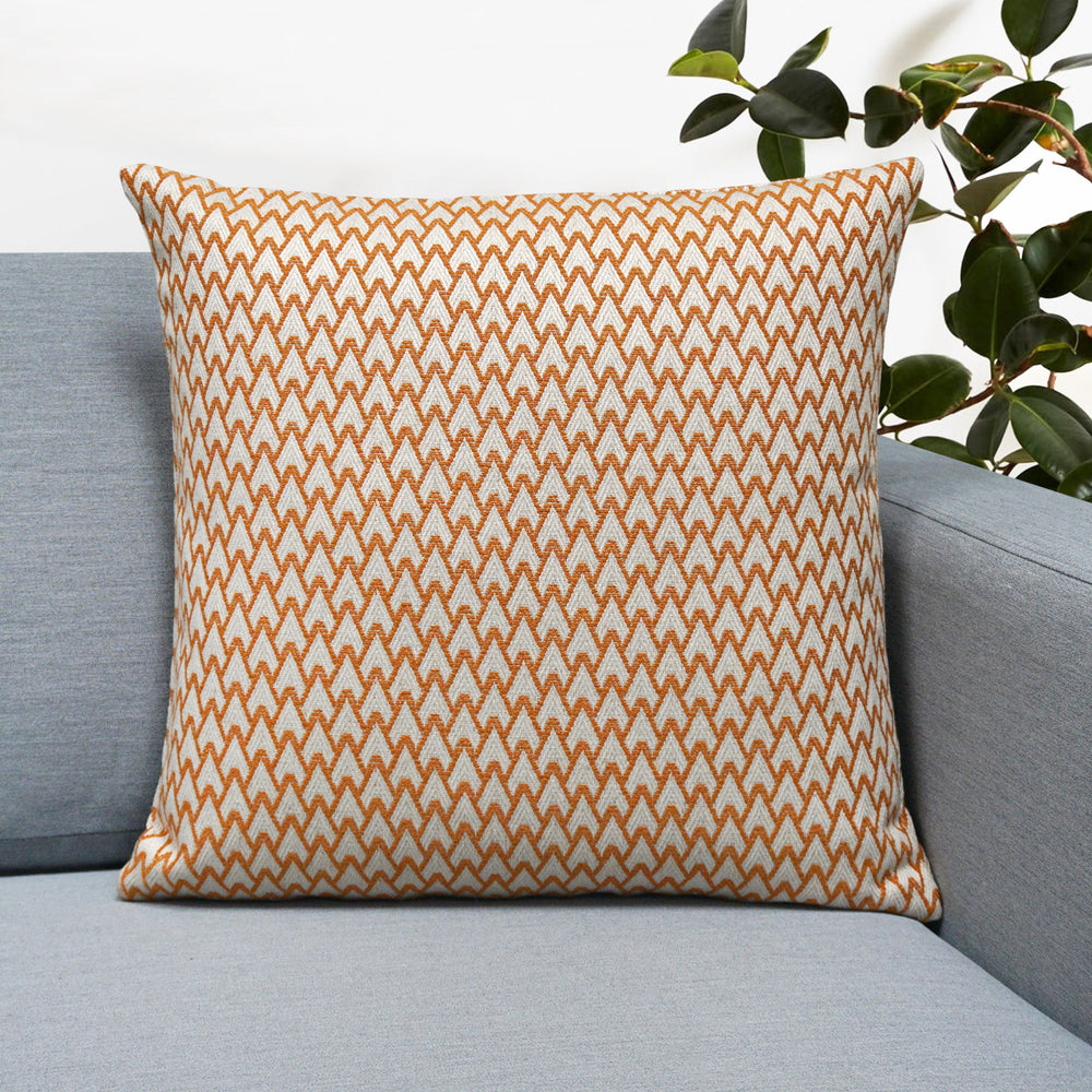 "Carmel Jacquard Throw Pillow | Orange | 18"" x 18"""