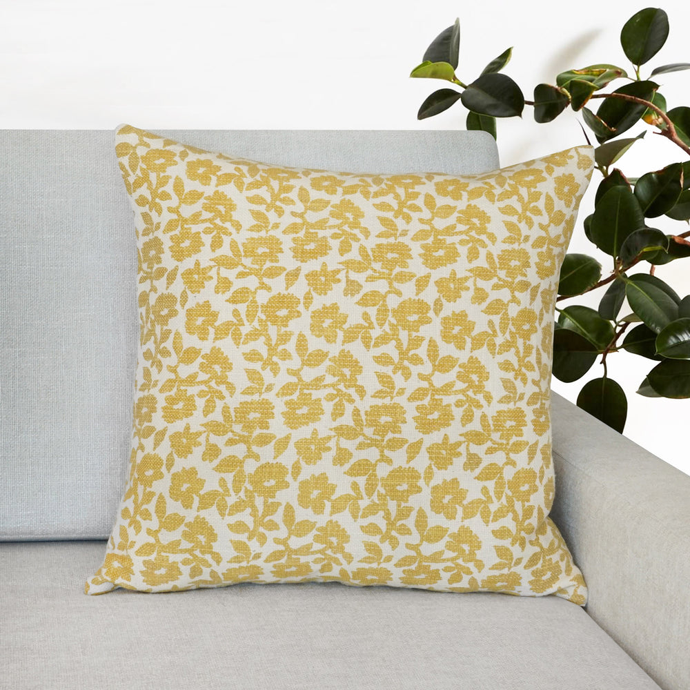 "Flora Flower Print Throw Pillow | Yellow | 20"" x 20"""