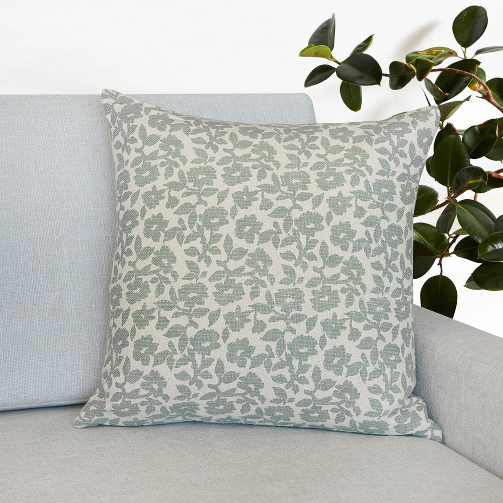 "Flora Flower Print Throw Pillow | Mint | 20"" x 20"""