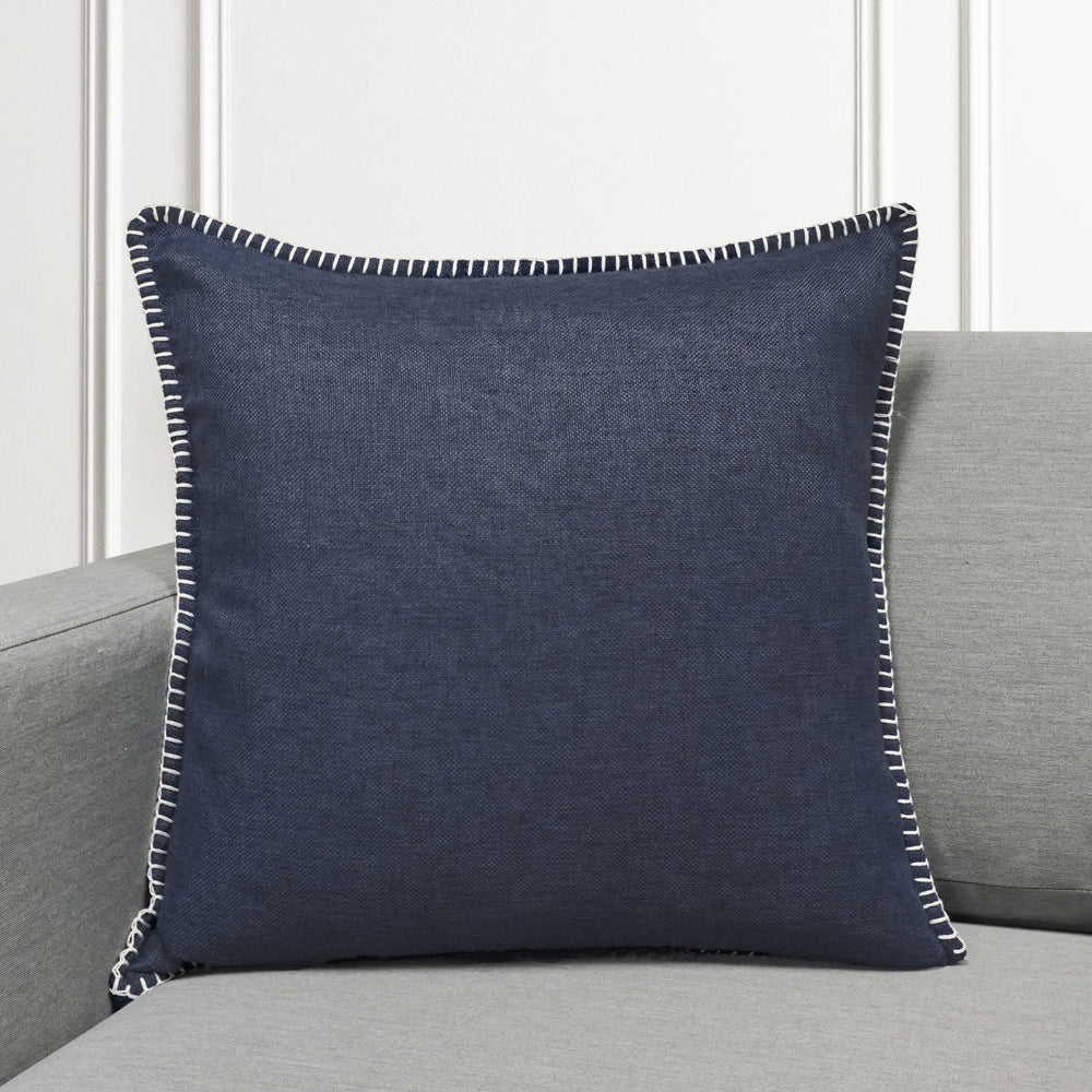 "Set of 2 Linen Whip Stitch Throw Pillow | Navy | 20"" x 20"""