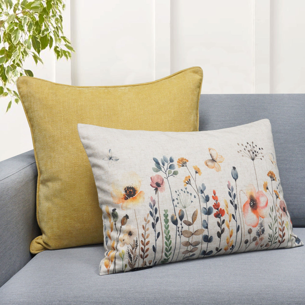 "Daisy Floral Print Throw Pillow | Multi | 14"" x 20"""