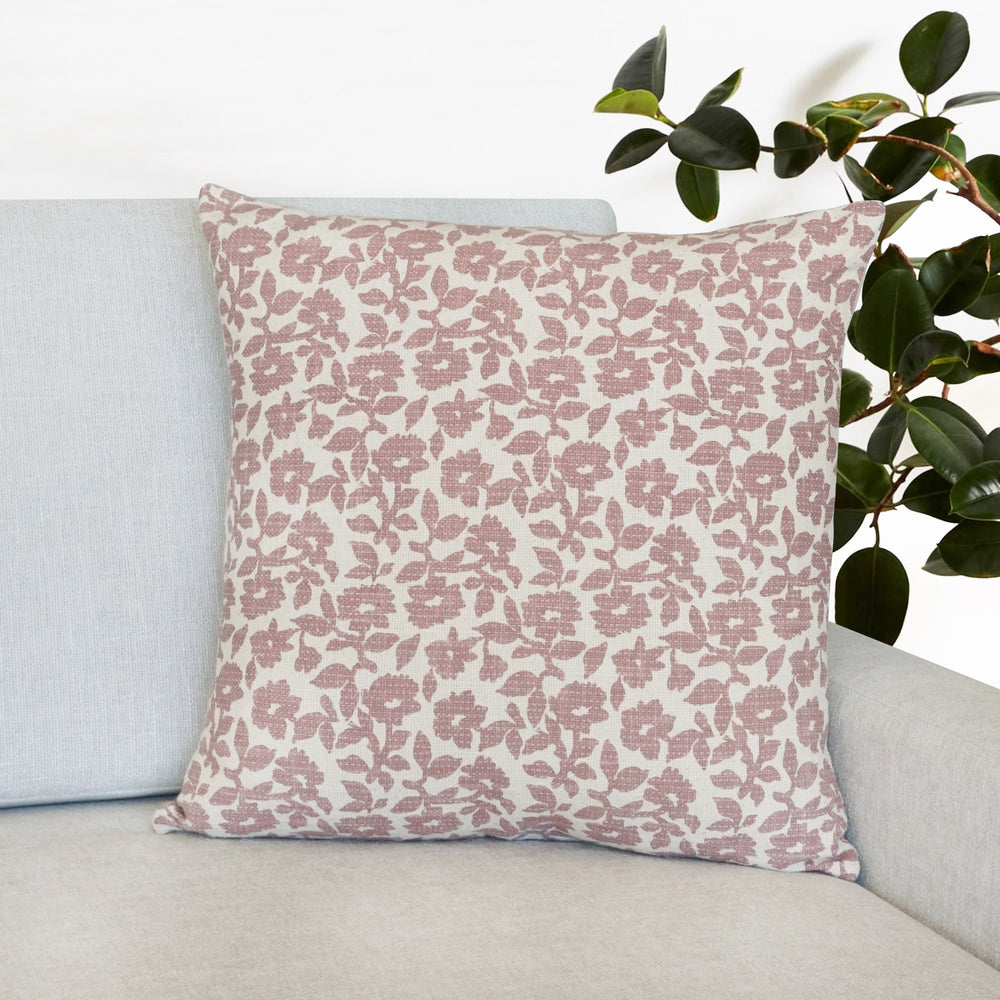 "Flora Flower Print Throw Pillow | Mauve | 20"" x 20"""