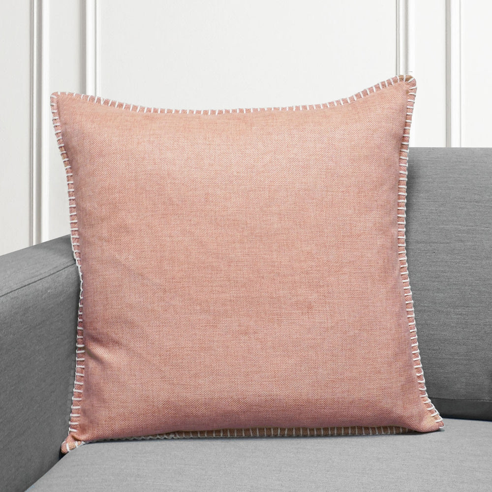 "Set of 2 Linen Whip Stitch Throw Pillow | Blush | 20"" x 20"""