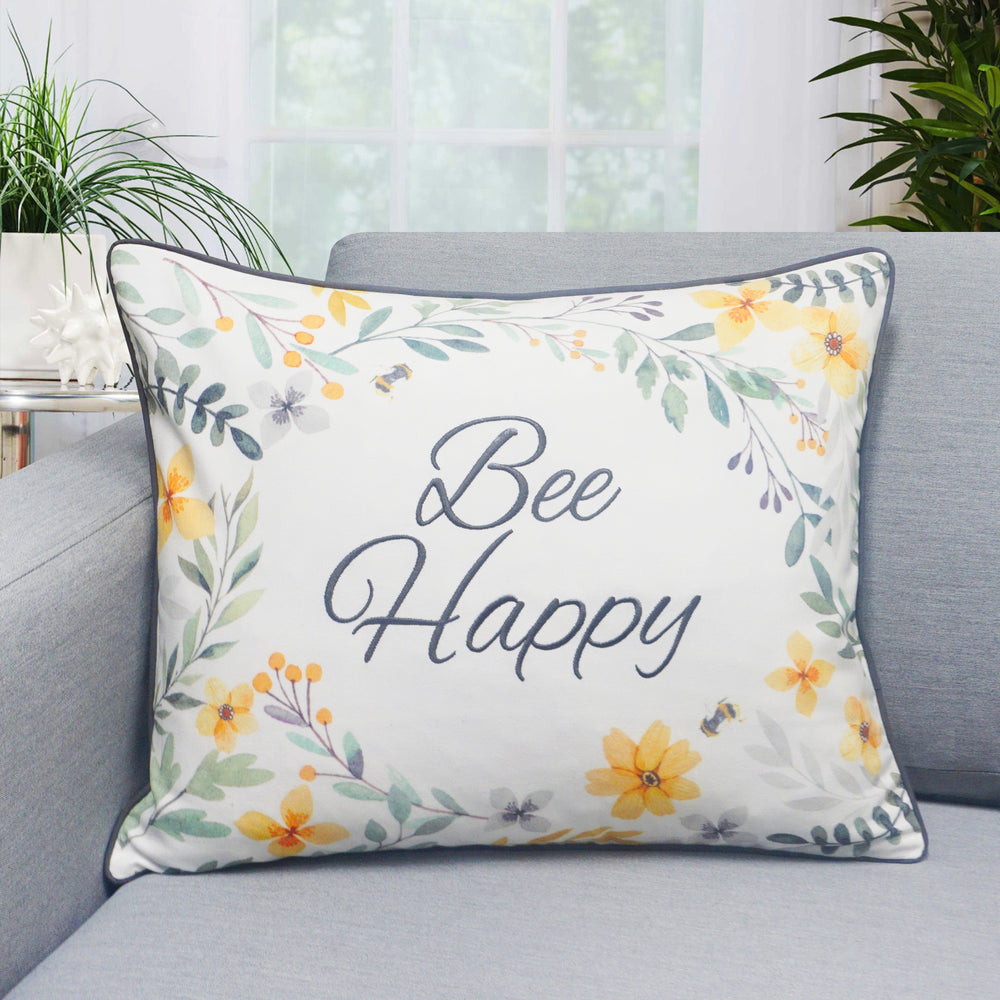 "Bee Happy Throw Pillow | Multi | 16"" x 20"""