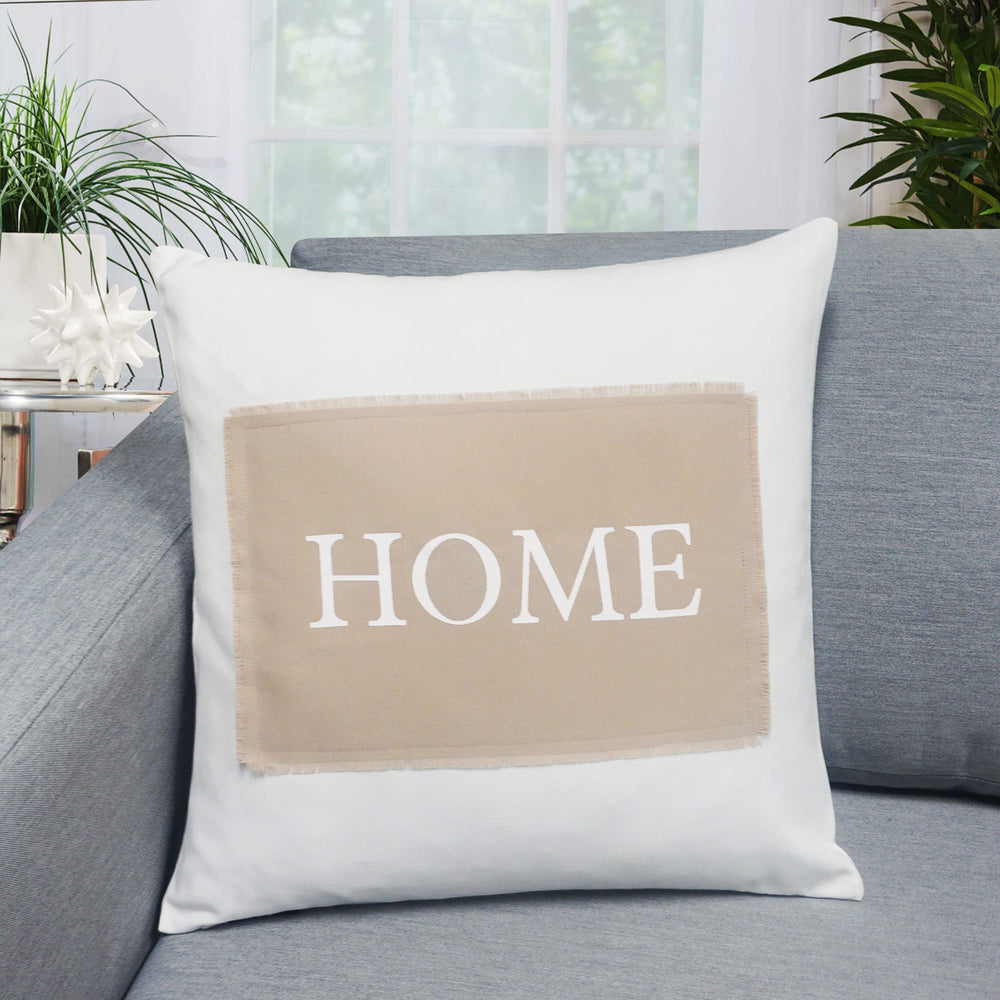 "Home Patch Throw Pillow | Natural | 18"" x 18"""