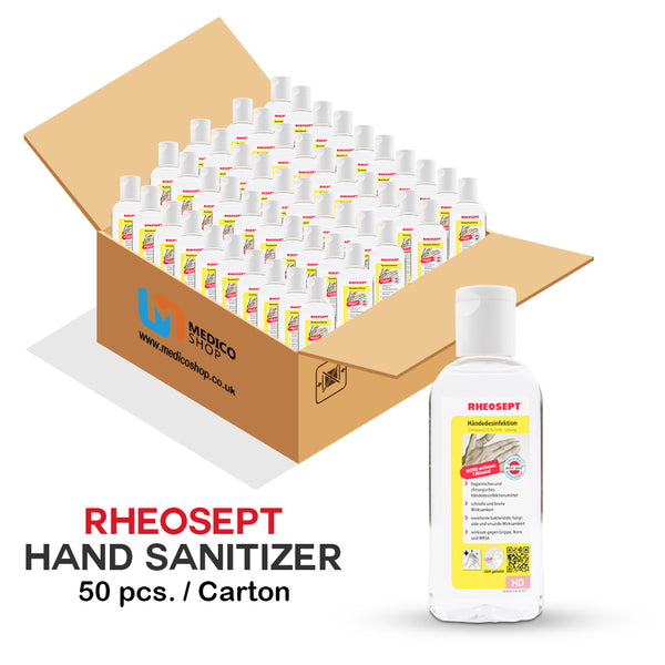 [Bulk Sales] 1 Carton = 50 Bottles | Rheosept 70% Alcohol Hand Sanitizer Gel 100ml | Kill 99.99% of Viruses & Bacteria | Lowest Price at £0.99 each!! - Medicoshoppe