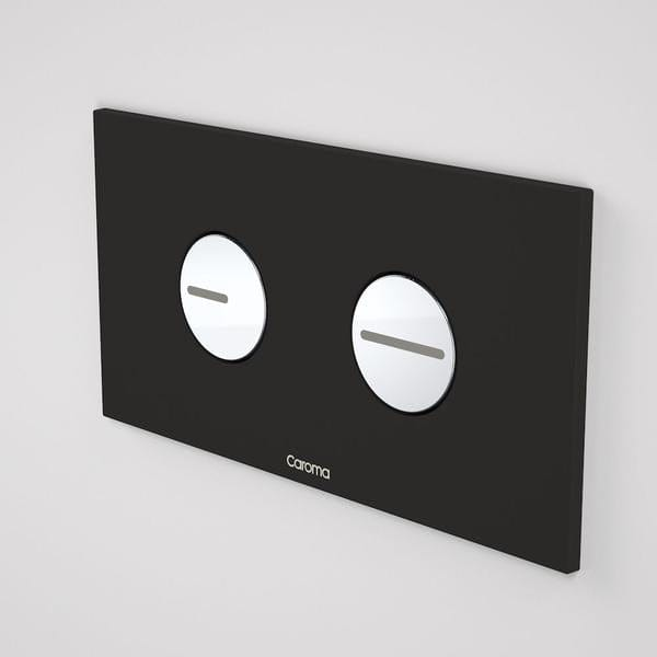 Caroma Invisi Series II Round ABS Dual Flush Plate | Black & Chrome