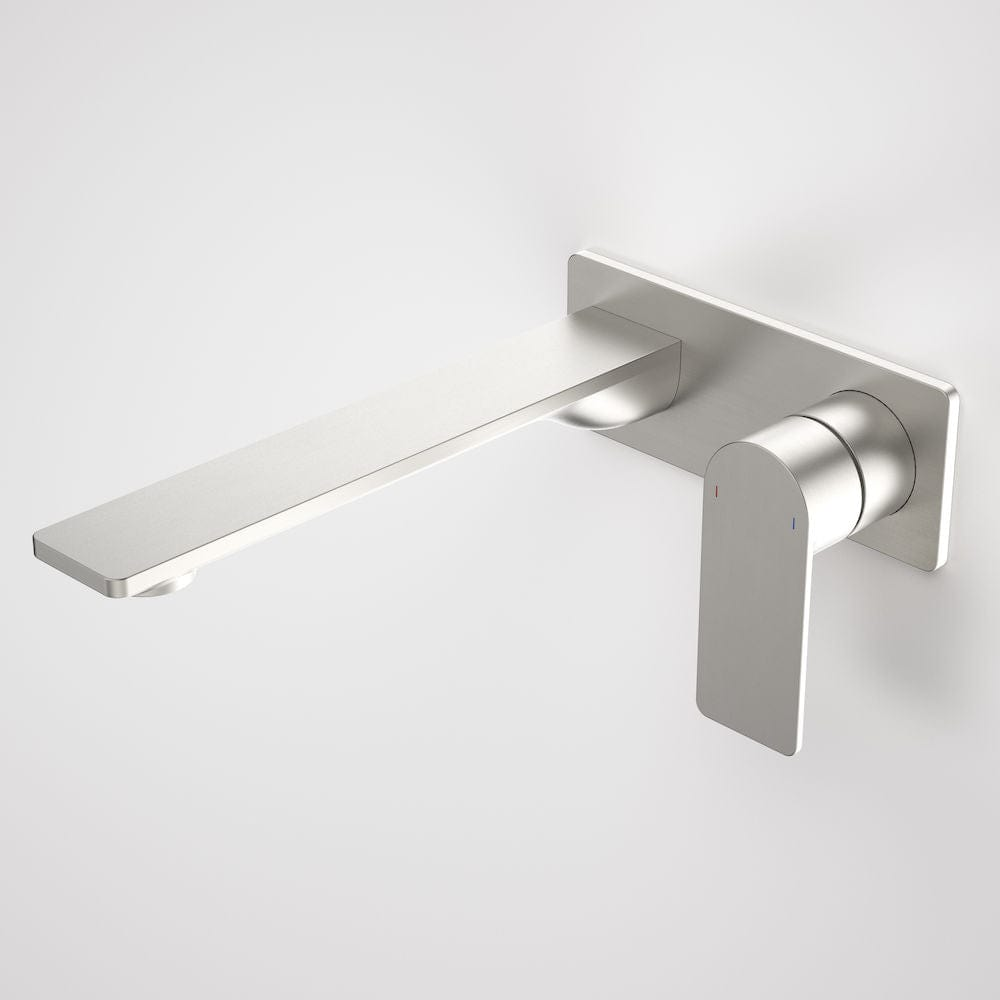 Caroma Urbane II Rectangular Wall Basin/Bath Mixer 220mm | Brushed Nickel