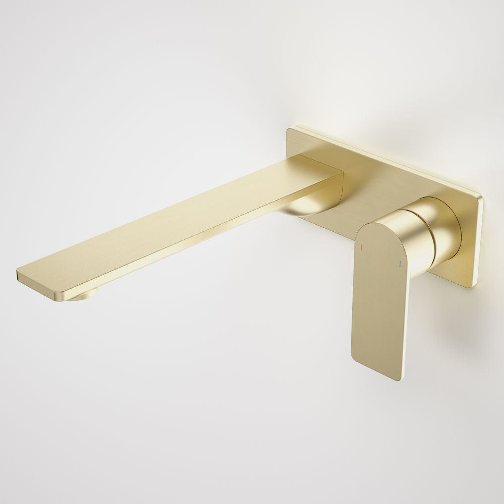 Caroma Urbane II Rectangular Wall Basin/Bath Mixer 220mm | Brushed Brass