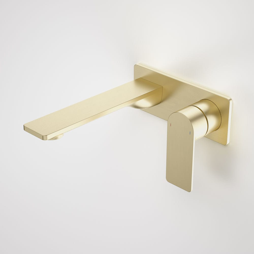 Caroma Urbane II Rectangular Wall Basin/Bath Mixer 180mm | Brushed Brass