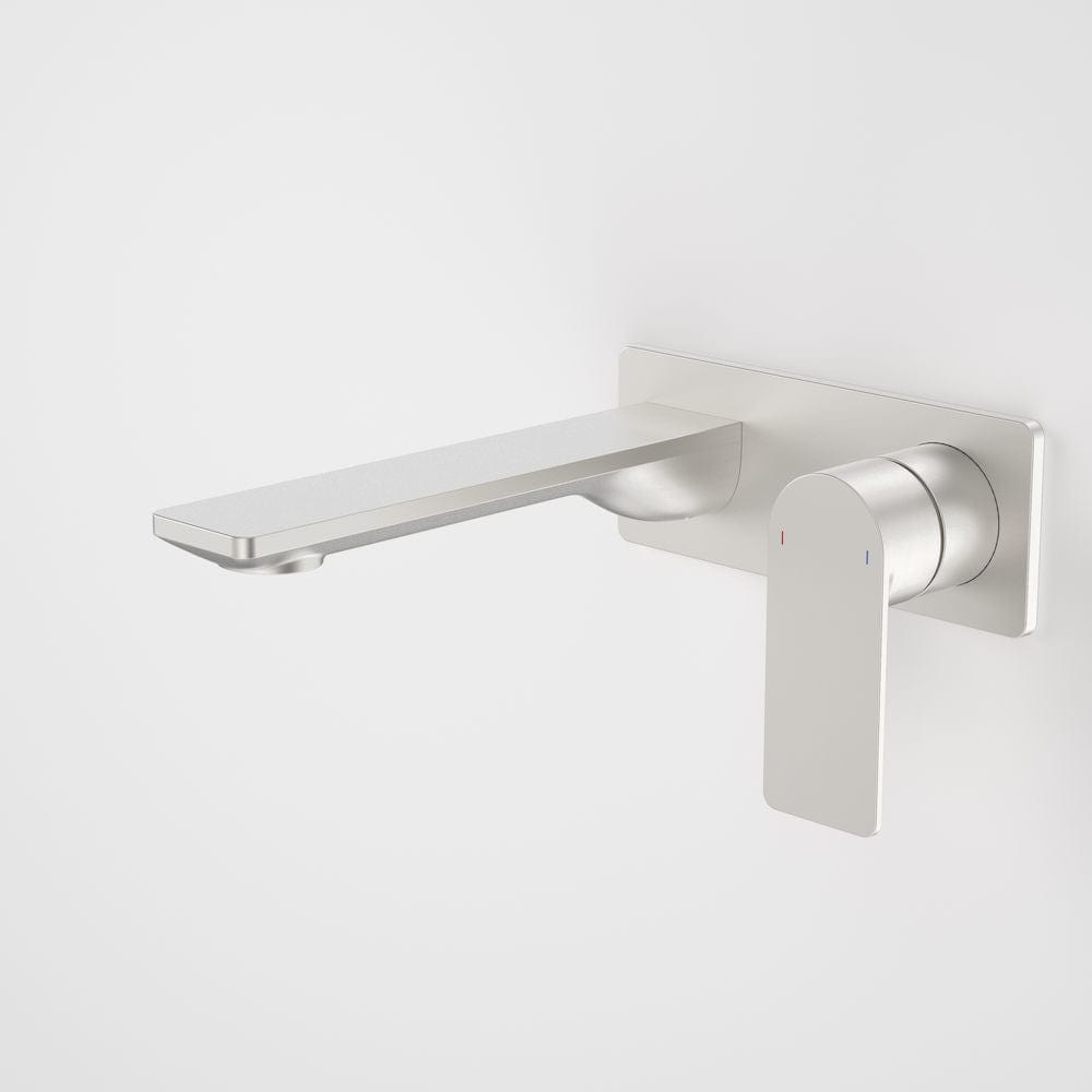 Caroma Urbane II Rectangular Wall Basin/Bath Mixer 180mm | Brushed Nickel