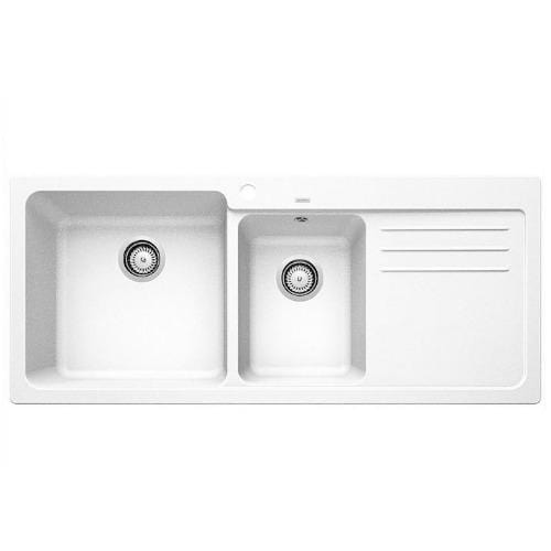 Blanco Silgranit Naya 8S Double Sink with Drainer | White