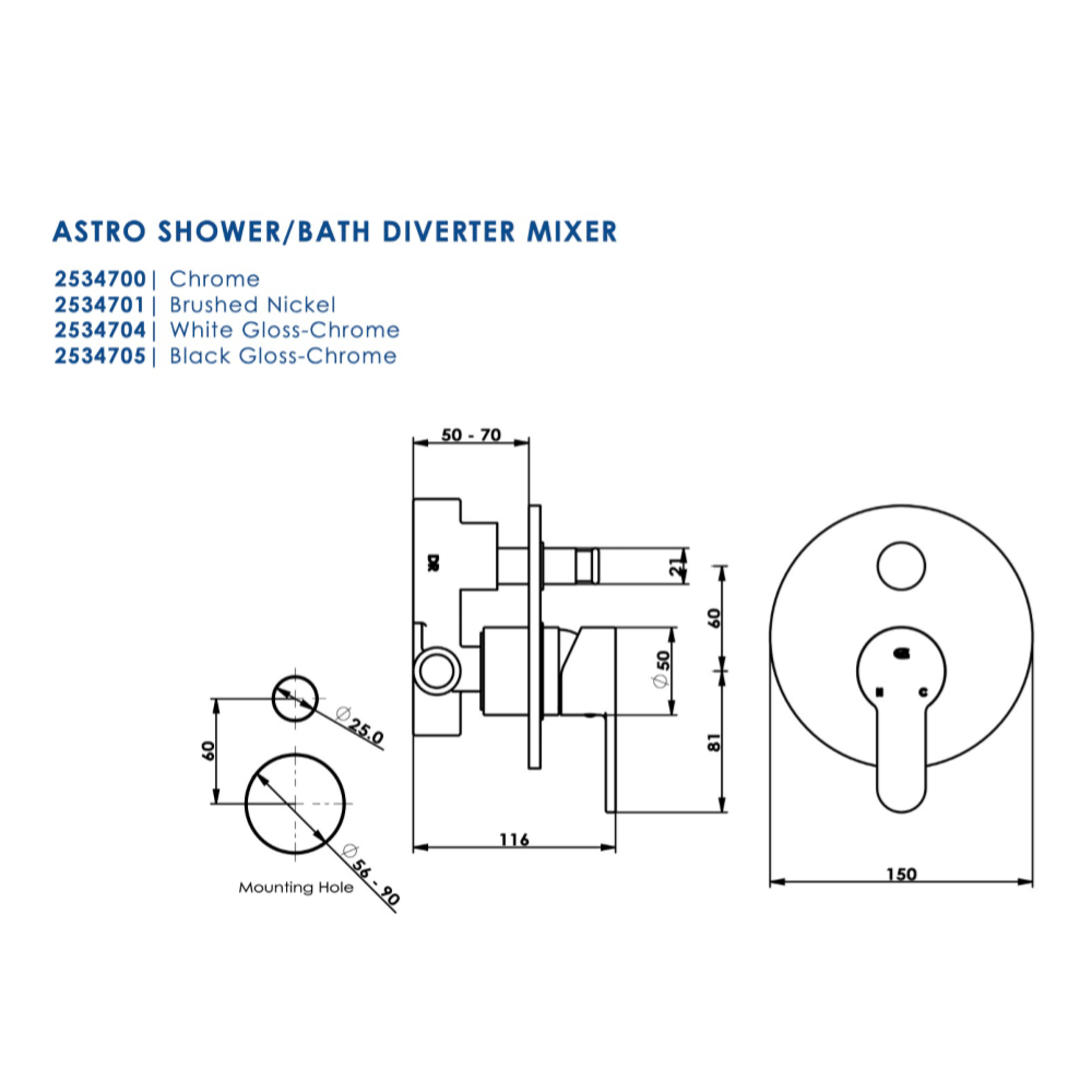 Greens Astro Shower Mixer with Diverter | Brushed Nickel