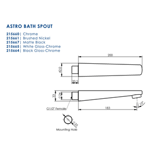 Greens Astro Bath Spout | Matte Black