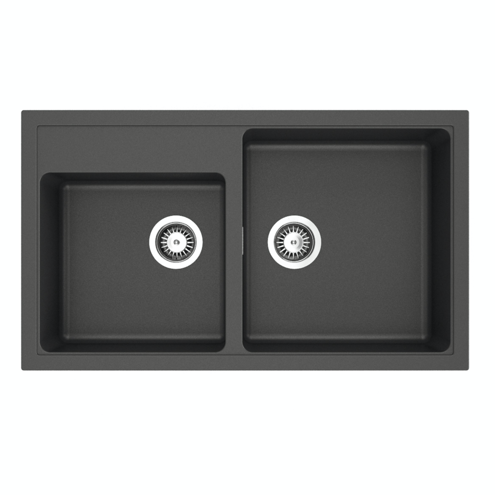 Sergio Granite 345/400 Double Sink with Tap Landing | Black