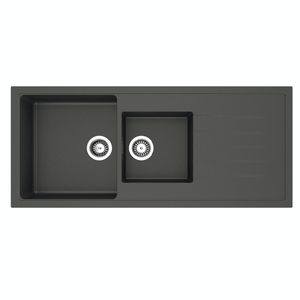 Sergio Granite 400/295 Double Sink with Drainer | Black