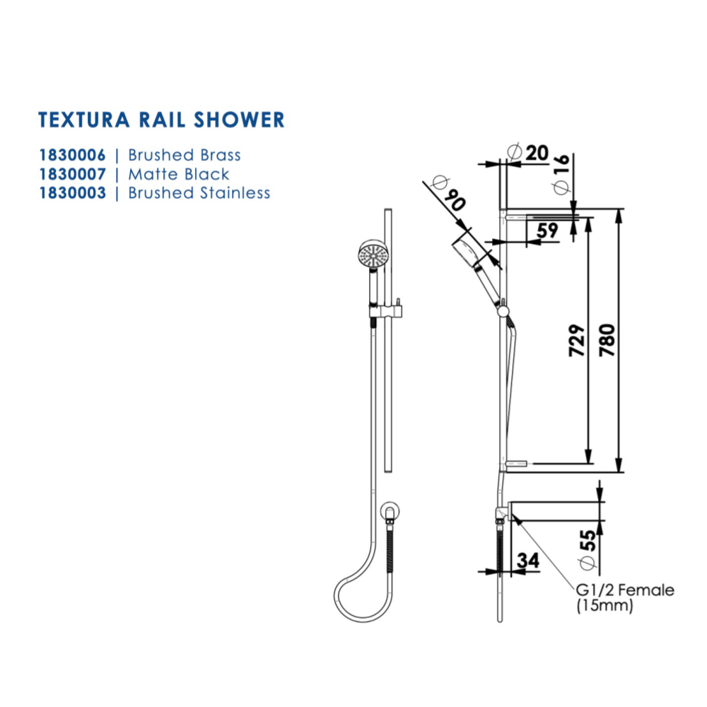 Greens Textura Rail Shower | Brushed Stainless
