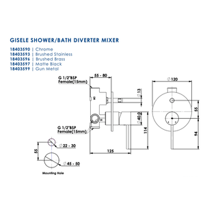 Greens Gisele Shower Mixer with Diverter | Brushed Brass