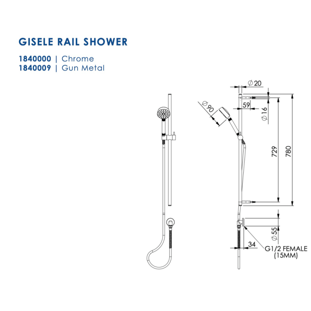 Greens Gisele Rail Shower | Gunmetal
